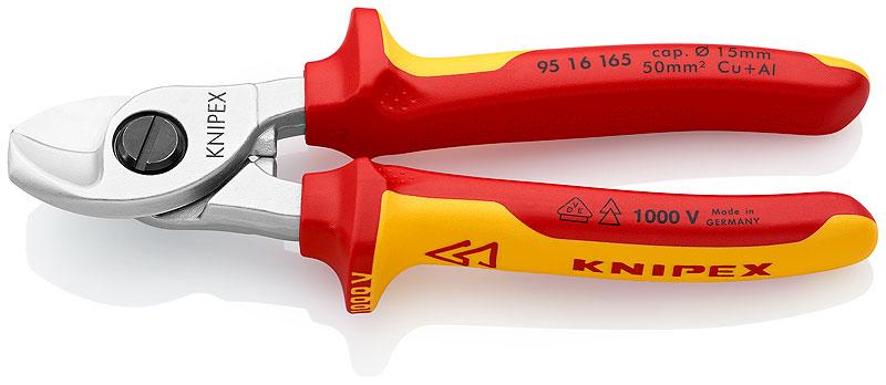 Kliješta sjekača 165mm za kablove D 15mm/50mm2 kromirana VDE izolirana KNIPEX