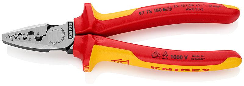 Kliješta za tuljaste stopice  0,25-16mm2 VDE izolirana AWG 23-5 KNIPEX